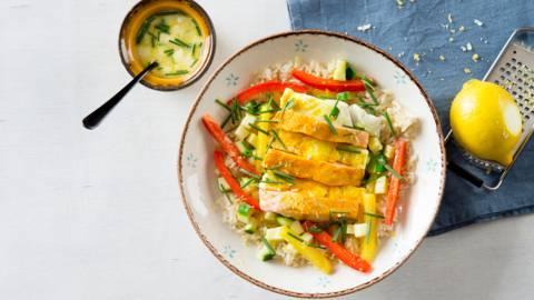 Papillote de saumon au lait de coco et riz