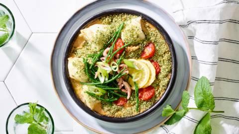 Cassolette de poisson en croûte de persil