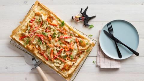 Pizza au poulet et au poivron