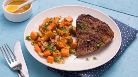 Rumsteak et patate douce croquante