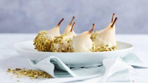 Poires au chocolat blanc et pistaches