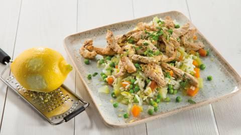 Riz aux légumes et petites escalopes de dinde