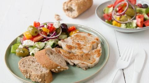 Entrecôte de veau et salade grecque