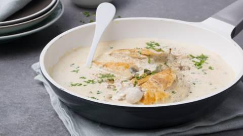 Poulet sauce crème-champignons