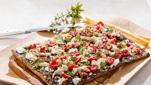 Pizza 'nocciola' au chocolat, framboises et ricotta