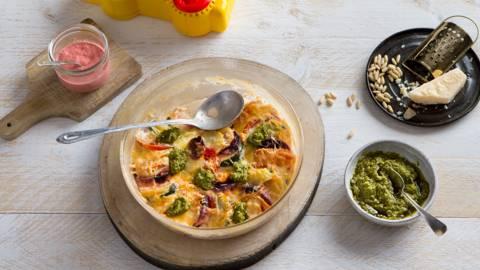 Gratin de légumes à la mozzarella et au pesto
