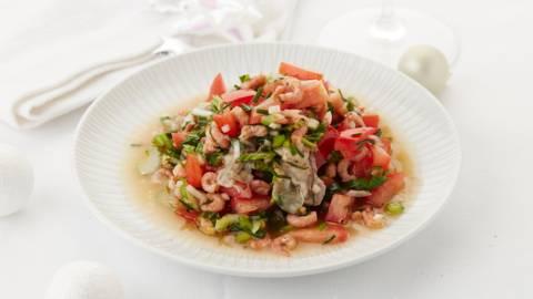 Escabèche d'huîtres et crevettes grises