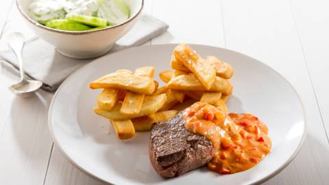 Chateaubriand sauce Stroganoff et frites