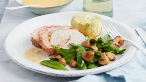 Rôti Orloff, gratin de pommes de terre et légumes