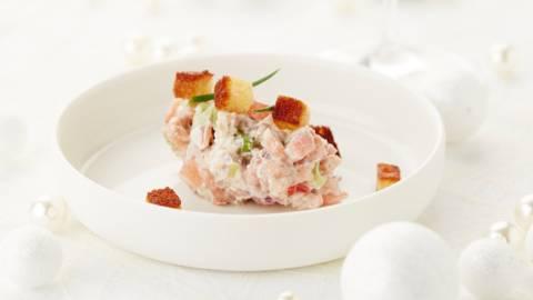 Tartare de tomates aux crevettes grises