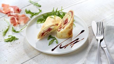 Piadina à la mozzarella et au jambon de Parme