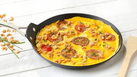 Omelette aux crevettes bio