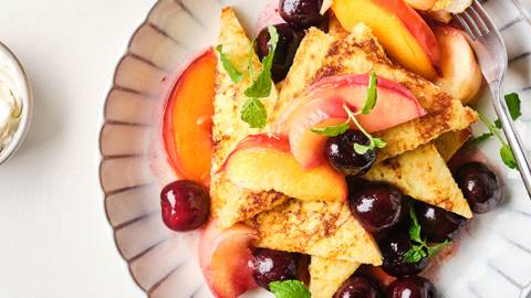 Pain perdu aux fruits cuits et au mascarpone