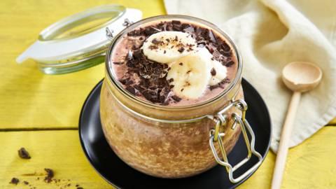 Overnight oats au chocolat et à la banane