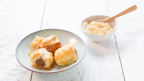 Saucisses feuilletées avec compote de pommes