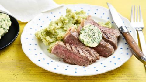Contre-filet de bœuf et purée de brocoli