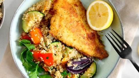 Filet de limande grillé et salade légumes