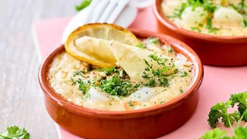 Cassolette de poisson et scampis aux asperges