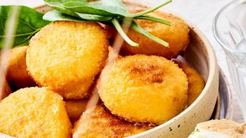 Croquettes au fromage et tapenade pistache-épinards
