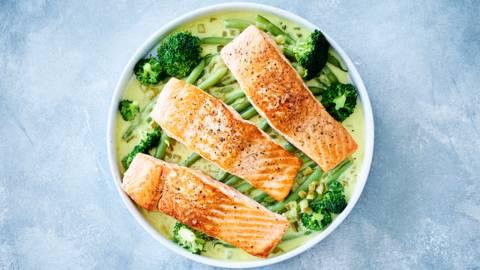 Ragoût de saumon à la crème, princesses et brocolis