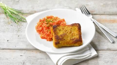 Purée de carottes et cordon bleu