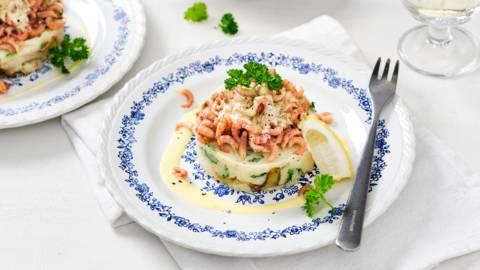 Montage chicons-purée aux crevettes et sauce moutarde