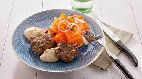 Pain de viande, houmous et salade de carottes