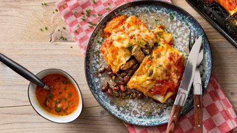 Burritos à l'émincé de boeuf et aux haricots rouges
