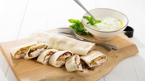 Tortilla au poulet et tzatziki