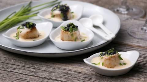 Coquille au sabayon de champagne et caviar