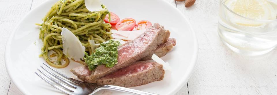 Steak pelé alla milanese au pesto