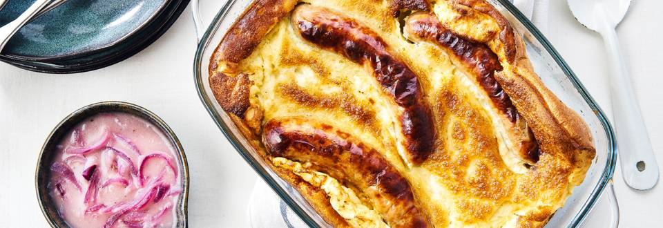 Toad in the hole et sauce aux oignons