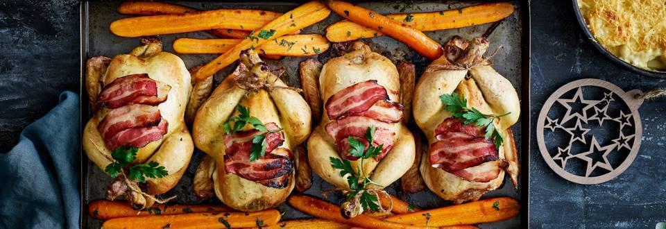 Coquelet aux fruits secs et gratin de pommes de terre