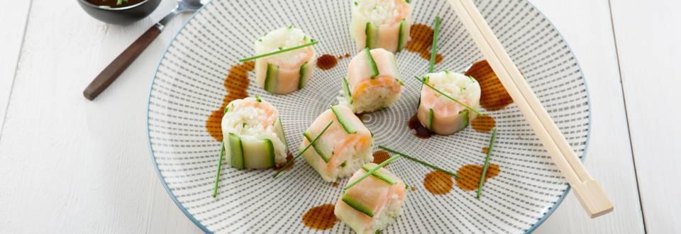 Sushis au concombre et au saumon fumé, riz basmati