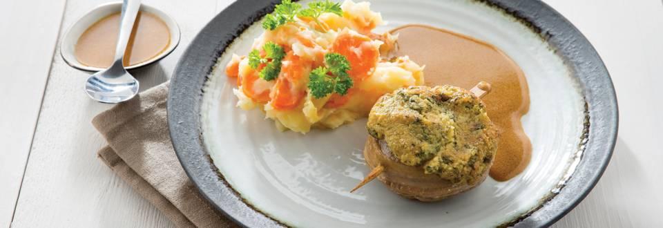 Médaillons d'agneau, persillade et stoemp aux carottes