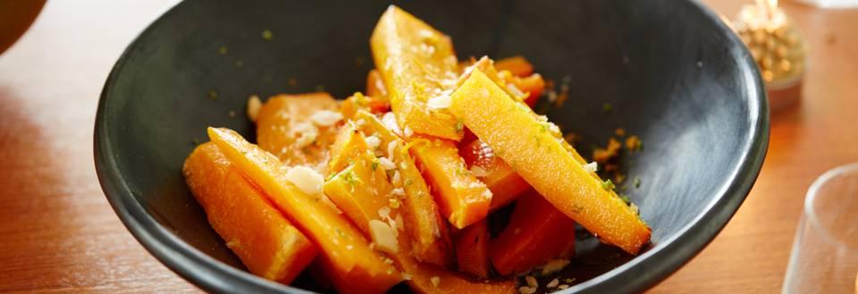 Potiron rôti à la crème d'agrumes et aux noix