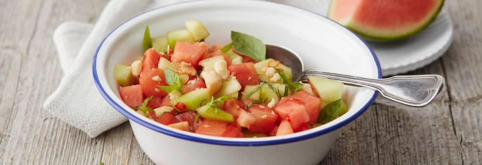 Salade de melon à la tomate et au piment