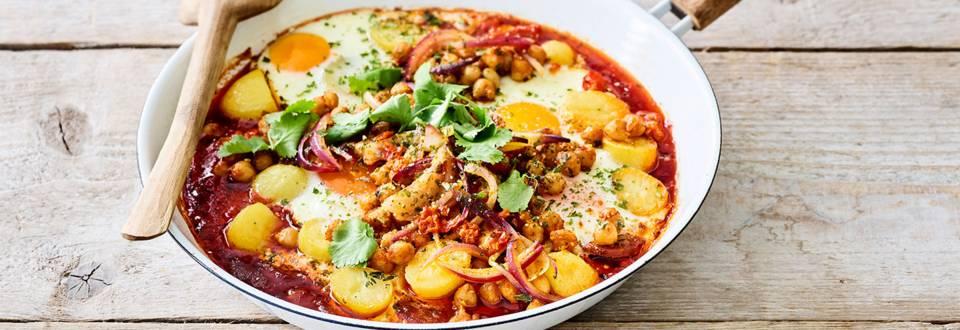 Chakchouka de luxe aux pommes de terre grillées et au chorizo