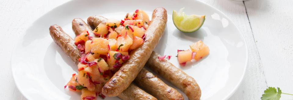 Chipolata de porc et salsa à l'ananas