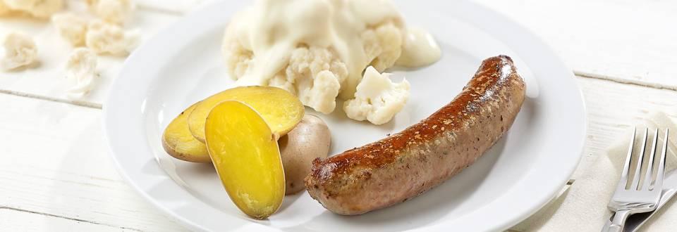 Saucisse de campagne, chou-fleur et sauce blanche