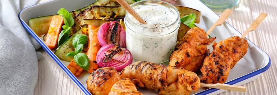 Filet de poulet brazade et salade épicée de légumes grillés