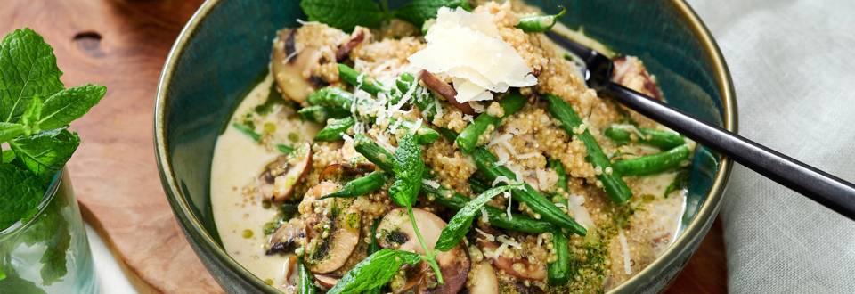 Risotto de quinoa aux champignons et haricots verts