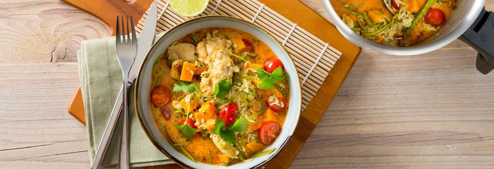 Pittige curry met kalkoenreepjes