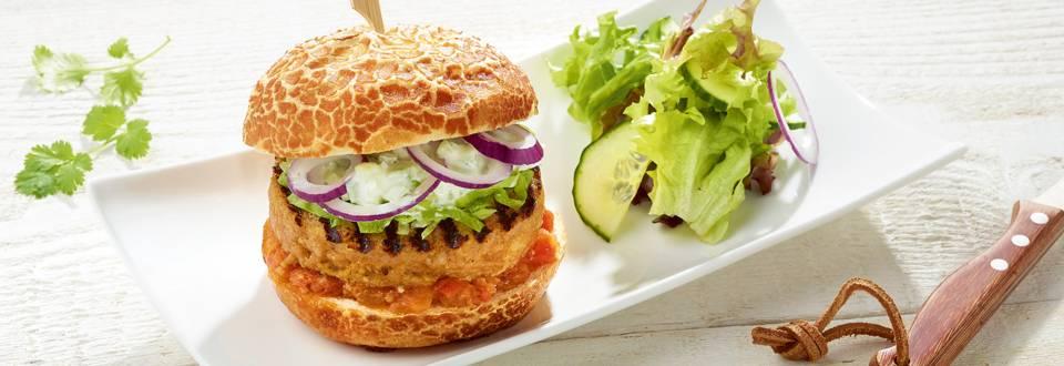Hamburger de poulet et compote de tomates