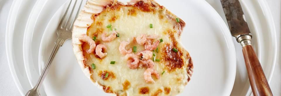 Coquilles Saint-Jacques et crevettes grises