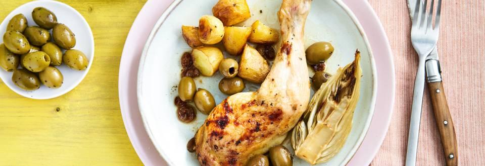 Cuisses de poulet au four aux olives