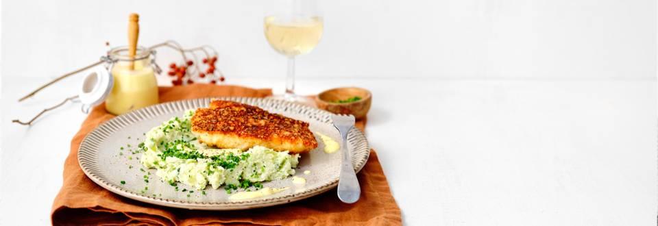 Dos d'églefin croustillant, purée de chou vert-ricotta et sauce au citron