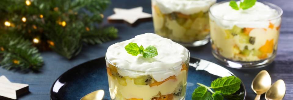 Trifle aux fruits exotiques et pudding