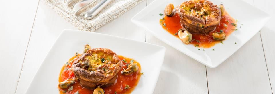 Frittata de moules et salsa à la tomate