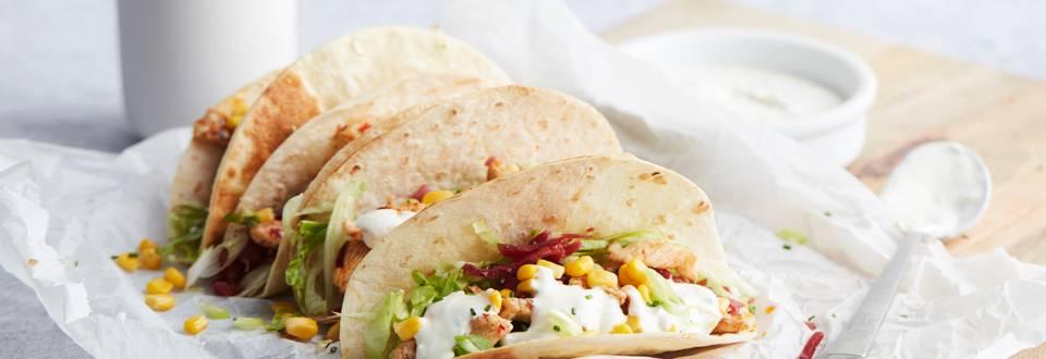 Tacos au poulet, à la bresaola et au maïs